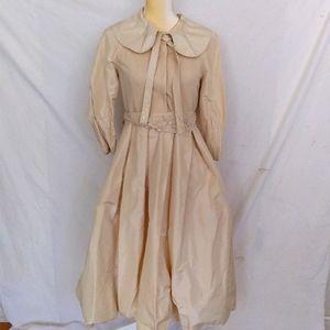Beige custom tailored puffed dress S